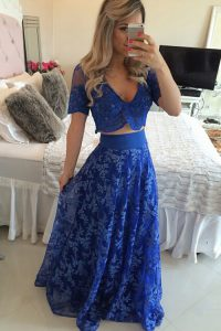 V-neck Short Sleeves Chiffon Prom Dresses Lace and Appliques Sweep Train Zipper