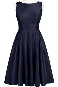 Charming Navy Blue A-line Scoop Sleeveless Taffeta Knee Length Backless Bowknot Prom Evening Gown