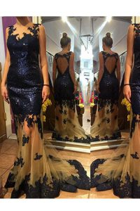 On Sale Scalloped Sleeveless Organza and Sequined With Brush Train Backless Prom Party Dress in Navy Blue with Sequins