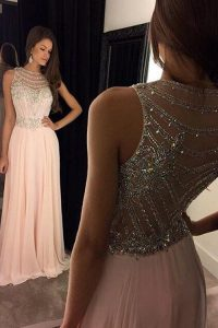 High Quality Pink Criss Cross Scoop Beading Prom Dresses Chiffon Sleeveless Sweep Train