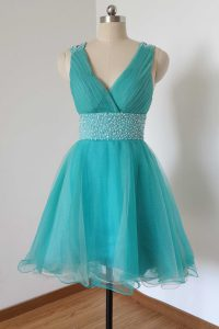 Fashion Aqua Blue Tulle Criss Cross Prom Evening Gown Sleeveless Knee Length Beading