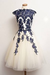 Excellent Scalloped Knee Length A-line Cap Sleeves Blue And White Prom Dresses Zipper