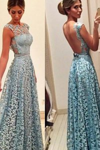Low Price Turquoise Homecoming Dress Prom with Lace Bateau Sleeveless Backless