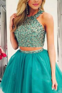 Turquoise Two Pieces Scoop Sleeveless Organza Knee Length Zipper Beading