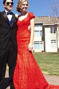 Fantastic Mermaid Red Prom Dresses Prom and Party with Lace V-neck Short Sleeves Sweep Train Backless