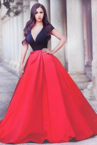 Beading Dress for Prom Red And Black Zipper Short Sleeves With Train Sweep Train