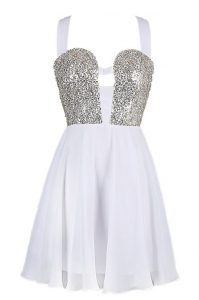 Elegant White A-line Chiffon Straps Sleeveless Sequins Knee Length Criss Cross