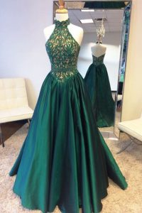 Halter Top Teal Zipper Prom Evening Gown Beading and Lace Sleeveless Sweep Train