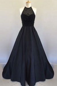 Pretty Halter Top Floor Length Zipper Dress for Prom Black for Prom and Party with Beading and Pleated