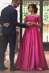 Unique Off the Shoulder Fuchsia Long Sleeves Satin Sweep Train Zipper Prom Evening Gown for Prom