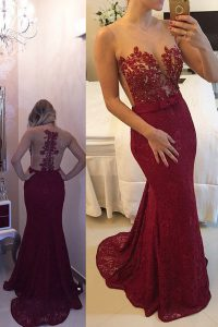 Mermaid Scoop Lace Burgundy Sleeveless Beading and Appliques Zipper Prom Dresses