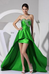 Recommended High-low Spring Green Prom Outfits with Rhinestone