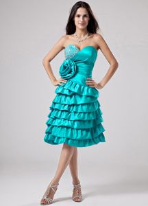 Fitted Flower and Beads Accent Dress for Prom with Ruffled Layers
