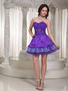 Purple Sweetheart Mini-length Prom Gown with Beaded Appliques