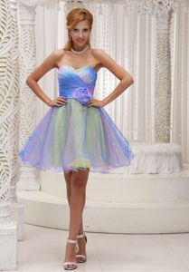 Short Sweetheart Organza Beading Prom Dress with Flower Accent