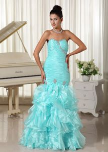 Ruched and Ruffled Mermaid Turquoise Prom Dress in Sweetheart in Talence