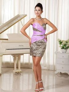 Sweetheart Mini-length Dress for Prom with Leopard Fabric in Puteaux