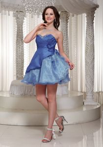 Organza Mini-length Sweetheart Senior Prom Dress with Beading in Blue in Bayonne