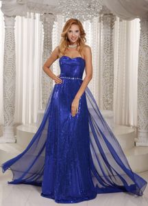 Royal Blue Sequined Sweetheart Dress for Formal Prom in Chiffon in Aubagne