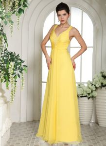 Yellow Straps Informal Prom Dresses with Appliques in Chalonsen Champagne France