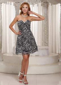 Muti-color Leopard V-neck Mini-length Semi-formal Prom Dress in Meudon