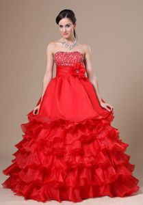 Beaded Strapless Hand Flowery Prom Outfits with Ruffles in Red in Pantin