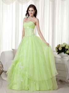 Yellow Green Sweetheart Floor-length Prom Dresses with Beading in Pessac