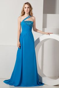 Brush Train Beaded One Shoulder Chiffon Prom Gown Dress Cheap