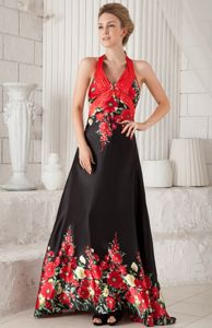 Floral Print Halter Backless Prom Gown Floor-length in Basingstoke
