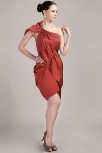 Rust Red One Shoulder Taffeta Prom Gown Dress with Cutout Back