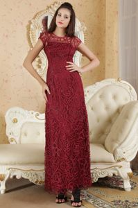 Burgundy Ankle-length Zipper-up Prom Dresses with Special Fabric