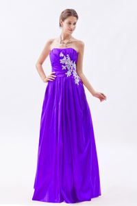 Purple Strapless Ruched Appliqued Prom Outfits in Ely Cambridgeshire