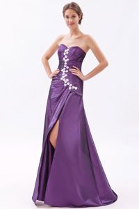 High Slit Sweetheart Ruched Beading Prom Gown Dress Brush Train