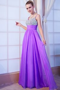 Pretty Purple Floor-length Beaded Prom Dress with Spaghetti Straps