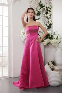 Hot Pink Strapless Beading Prom Dress Brush Train in Redcar Cleveland