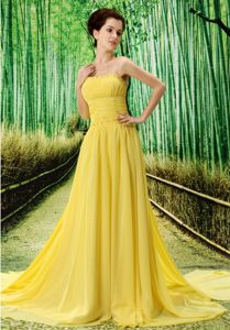 Yellow Strapless Watteau Train Dress for Prom with Bead and Ruche