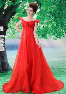 off the Shoulder Red Organza Prom Gown with Flower Sweep Train