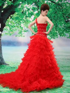 One Shoulder Brush Train Beaded Prom Outfits with Ruffled Layers
