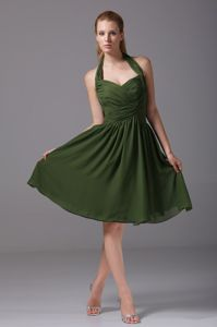 Dark Green Halter Ruching Prom Dress for Slim Girls in Battle East Sussex