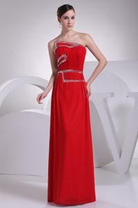 Red Chiffon Floor-length Strapless Prom Gowns with Beaded Ruche