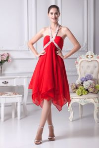 Asymmetrical Red Halter Prom Gown Dress with Appliques Hot Sale