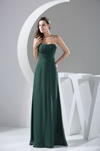 Dark Green Chiffon Strapless Ruched Prom Gown Dress Acle East Anglia