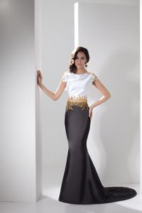 Mermaid Style Appliqued Prom Gown with Cap Sleeves Brush Train