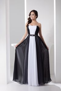 Low Price White and Black Long Chiffon Juniors Prom Dress for 2014 Summer