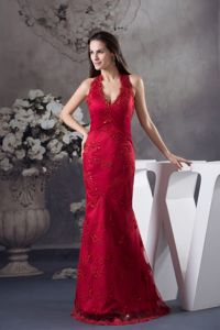 Charming Halter Top Appliqued Long Prom Dresses in Red for Wholesale