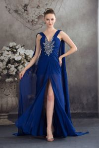 Watteau Train Slitted Beaded Prom Gown Dress in Royal Blue in Fashion
