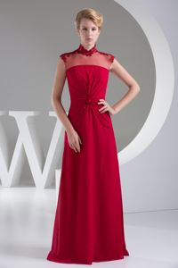 Customized Wine Red Formal Prom Dress with Keyhole and Sheer High-Neck