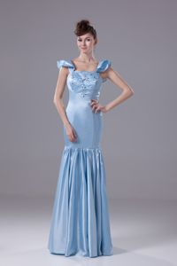 Simple Taffeta Square Neck Aqua Blue Prom Dress with Beads in Chardon OH