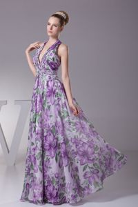 Halter Top Floral Printing Floor-length Junior Prom Dress in Multi-color