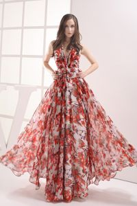 Cheap Halter Top Printing Colorful Long Prom Outfits in Concord NC